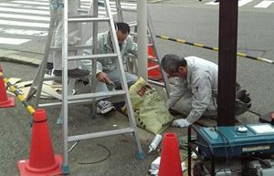 ポール設置後の工事写真